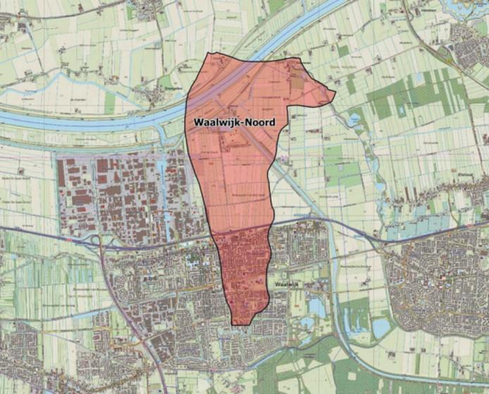 Het gaswinningsgebied Waalwijk-Noord.