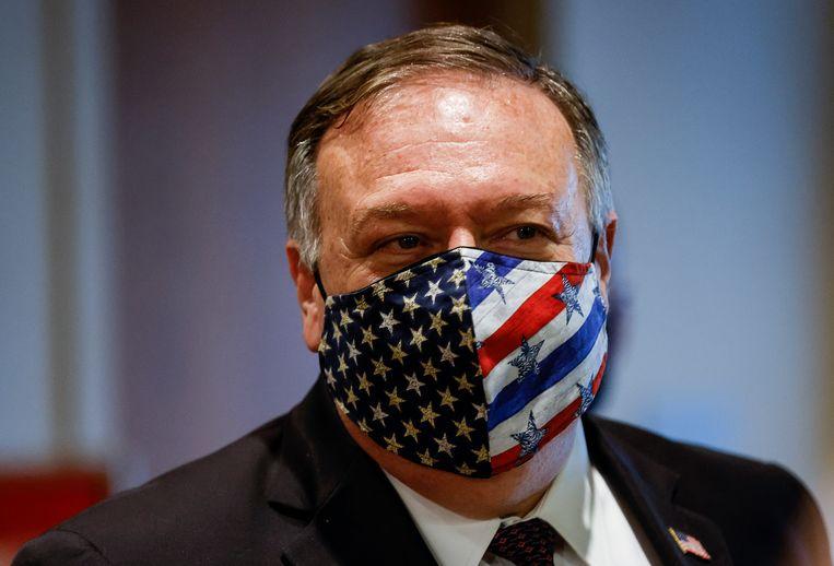 De Amerikaanse minister van Buitenlandse Zaken Mike Pompeo zaterdag na een vergadering met leden van de VN-Veiligheidsraad over Iran in New York. Vandaag kondigde Pompeo de herinvoering van de sancties tegen het land aan. Beeld AP