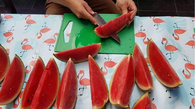 Veel watermeloenen op het aangepast menu