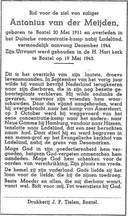 Het bidprentje van Toon van der Meijden.