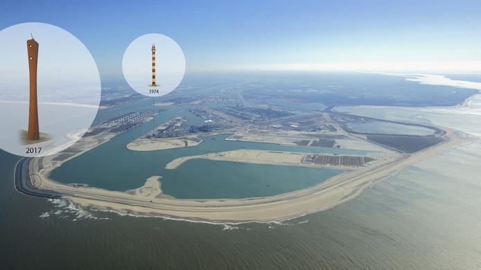 Aan de Prinses Maximaweg op de zeewering van de Maasvlakte 2 laat het Havenbedrijf Rotterdam een radartoren bouwen.