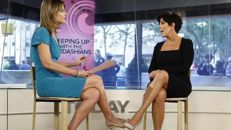 Hier zien we presentatrice Savannah Guthrie in gesprek met Kris Jenner van 'Keeping Up with the Kardashians' in de 'Today' show van NBC op 11 september.