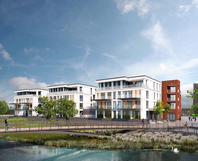 Het plan bestaat uit een supermarkt en meerdere appartementen.