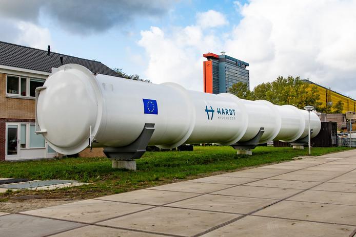 De huidige 30 meter lange testbaan van hardt Hyperloop