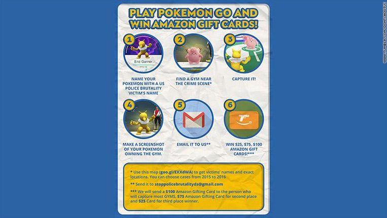Op de Tumblr-pagina werden spelers aangezet Pokémon Go te spelen op locaties waar politiegeweld had plaatsgevonden.