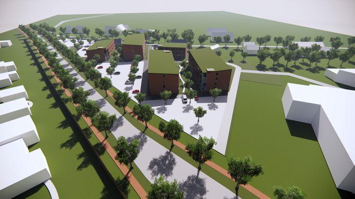 Het complex voor spoedzoekers in Veghel zou er zo uit kunnen zien. Het witte gebouw rechtsvoor is de ASV garage op het autoplein, de doorgaande weg Rembrandtlaan/Udenseweg en de weg achter het complex de Beukelaarstraat.