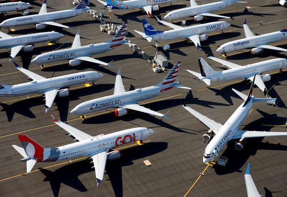 Boeing 737 MAX-kisten aan de grond op de luchthaven van Seattle in de VS.