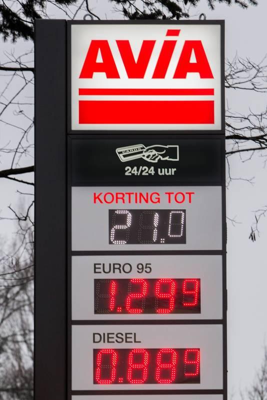 Het staat er echt op het grote prijzenbord: benzine onder de 1,30 en diesel minder dan 90 cent.