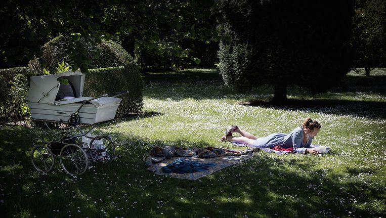 Middagrust en -zon in het Assistens-kerkhof in de wijk Nørrebro in Kopenhagen. De begraafplaats doet in de zomer ook dienst als park. Beeld Daniel Rosenthal / de Volkskrant
