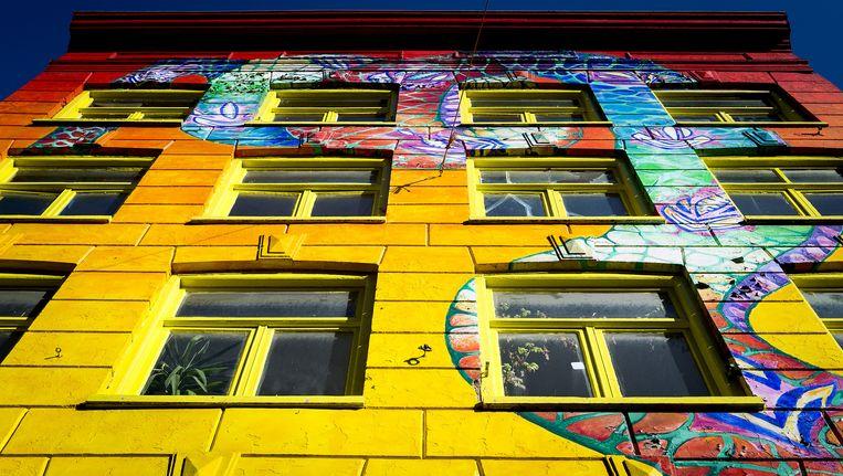 Graffiti op het Slangenpand in de Spuistraat Beeld anp