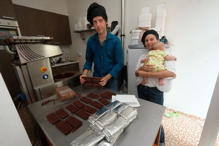 Isabelle Quirynen en Tom Geens van Coup de Chocolat behaalden goud met hun donkere chocolade Jerome.