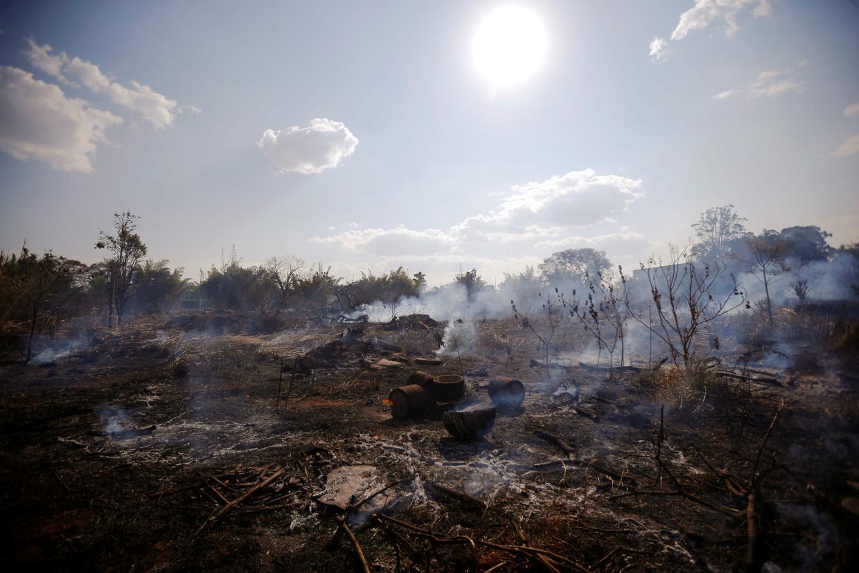 Verwoesting door bosbranden in de buurt van Brasilia.