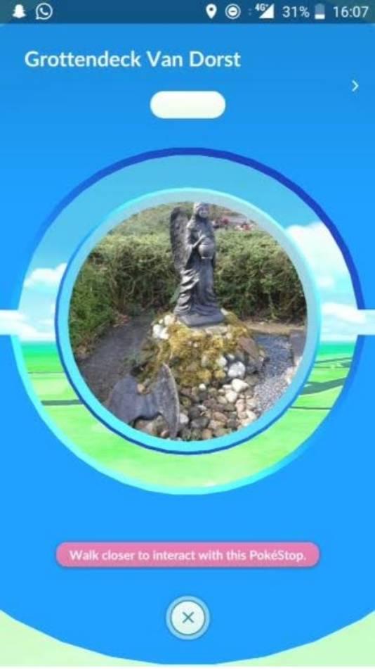 De omstreden PokeStop zoals de speler deze in beeld krijgt.