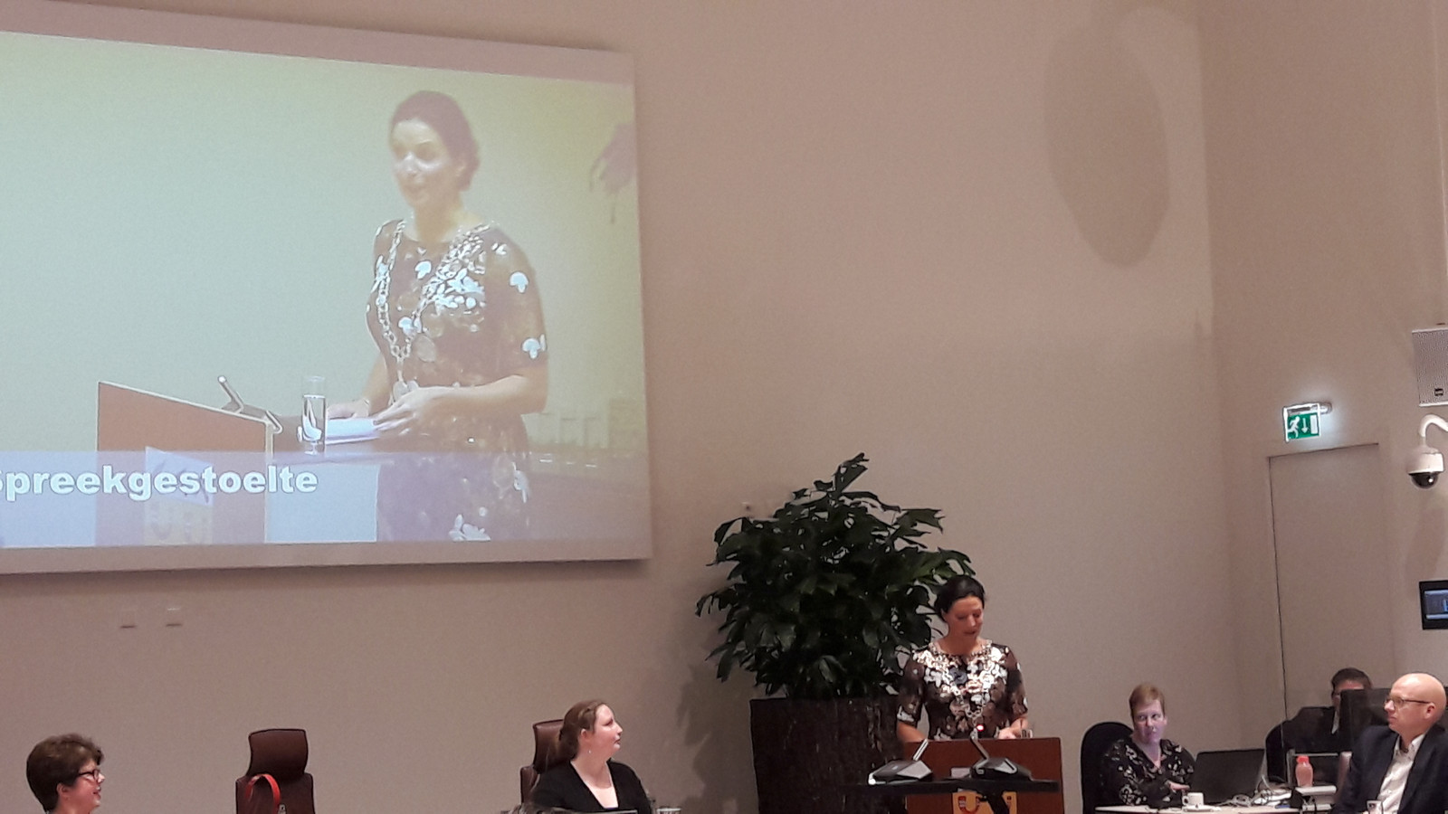 Hanne van Aart tijdens haar installatierede als nieuwe burgemeester van Loon op Zand.