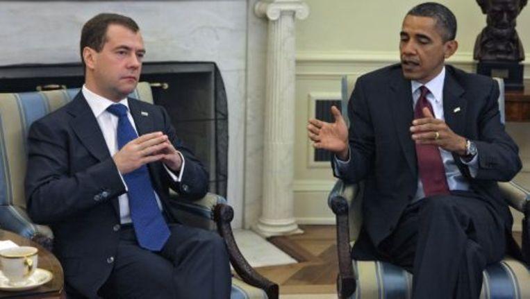 Russische president Dmitry Medvedev tijdens zijn gesprek met Barack Obama. ANP Beeld