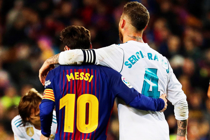 Lionel Messi met Real Madrid-captain Sergio Ramos.