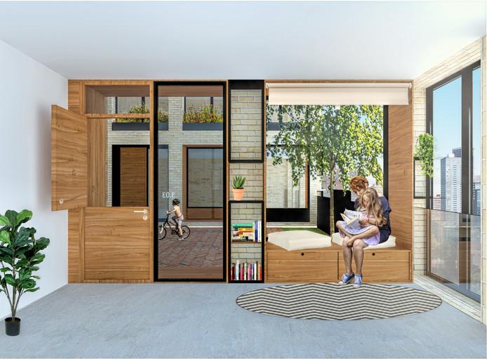 Een impressie van het interieur van de woontoren Maasbode.
