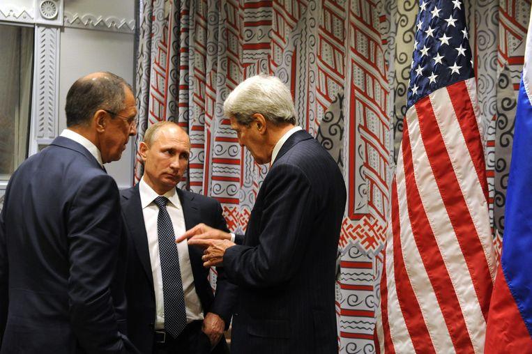 Poetin spreekt met Lavrov en Kerry in New York. Beeld epa