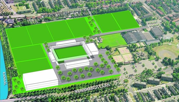 Op de Braak in Helmond moet een nieuw stadion komen voor gezamenlijk gebruik door Helmond Sport, amateurclubs, Dr. Knippenbergcollege en de wijken. Linksonder is de nieuwbouw van 'De Knip' voorzien.