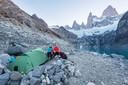 """""""Ons kamp aan het meer Laguna Sucia in Patagonië, Argentinië."""""""