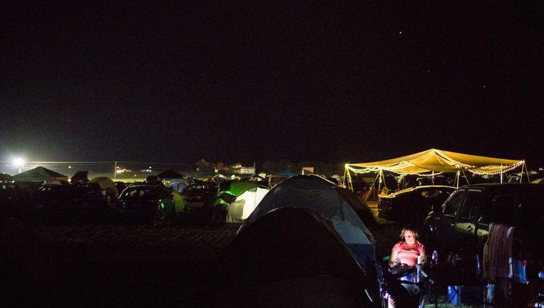 Madras, Oregon: eclipstoeristen hebben hun bivak al opgeslagen op een van de mooiste waarneempunten. Oregon verwacht een miljoen enthousiastelingen. Beeld AFP
