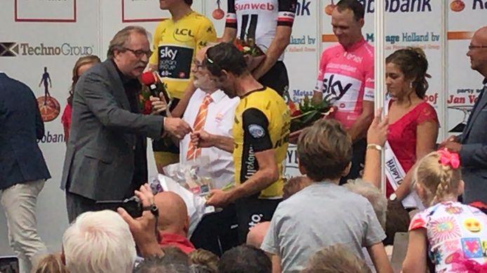 Bram Tankink gehuldigd bij Profwielerronde Etten-Leur.