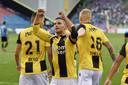 Bryan Linssen, hier na zijn doelpunt tijdens de wedstrijd Vitesse - FC Viitorul.