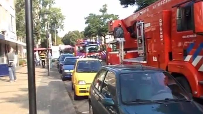Brand Couwenbergstraat Nijmegen. Still uit video: Brandweer Nijmegen