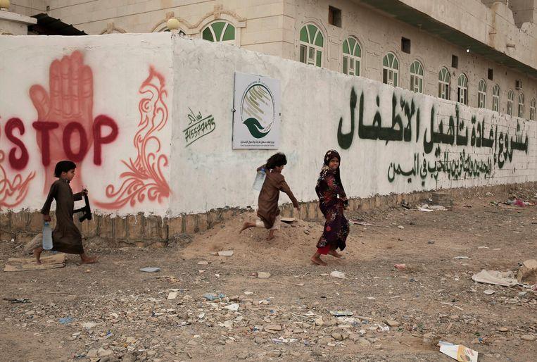 Kinderen bij een centrum voor voormalige kindsoldaten in Jemen.