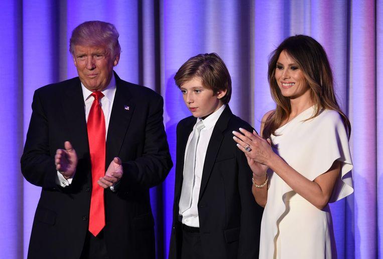 Donald, Barron en Melania Trump. Beeld afp