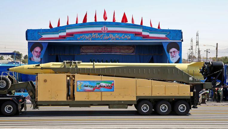 Een middellange afstandsraket werd op 21 september vorig jaar nog rondgereden door de straten van Teheran, tijdens een militaire parade.