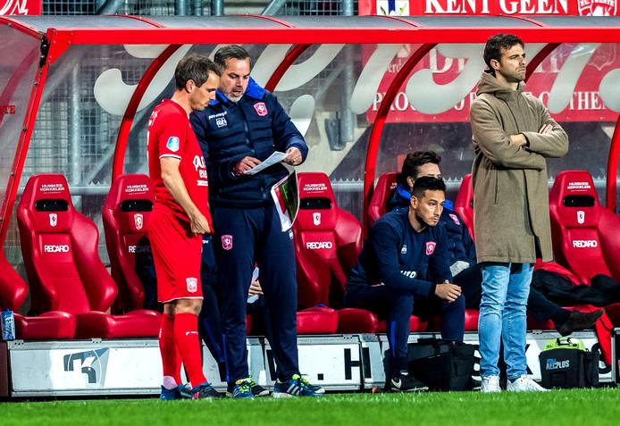 De hoofdpersonen deze week bij FC Twente in één beeld gevangen: Wout Brama, Sander Boschker en Gonzalo Garcia (vlnr).