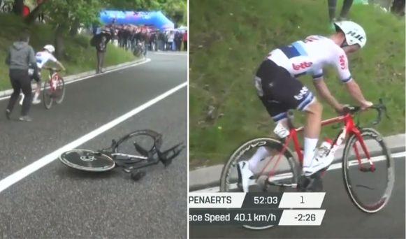Campenaerts' fietswissel verliep niet heel vlot.