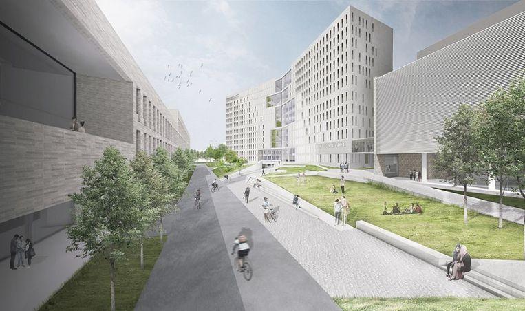 Een 3D-beeld van het toekomstige onderzoekscentrum voor biotechnologie in Leuven.