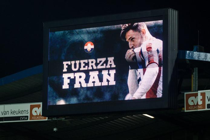 Het scorebord bij Willem II voor de wedstrijd zaterdagavond tegen Ajax.