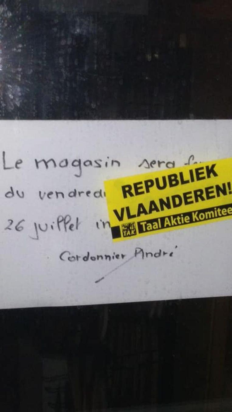 TAK-leden trokken vorige week door de faciliteitengemeenten en overspoten Franstalige opschriften op signalisatie- en verkeersborden.