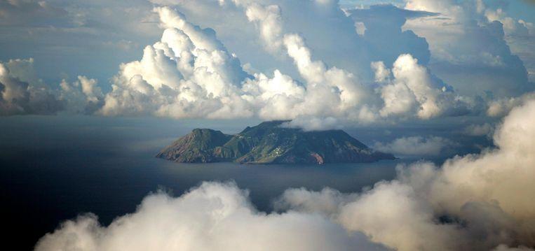 Luchtfoto van Saba. Beeld null