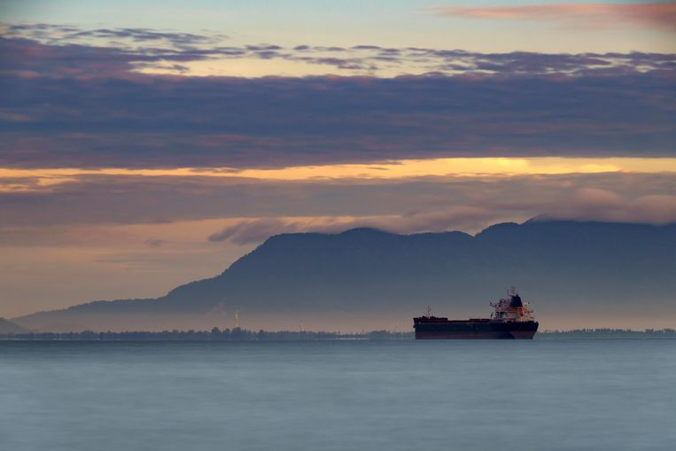 Silhouette of a ship rests at anchor, Penang, Malaysia Beeld Getty Images/RooM RF