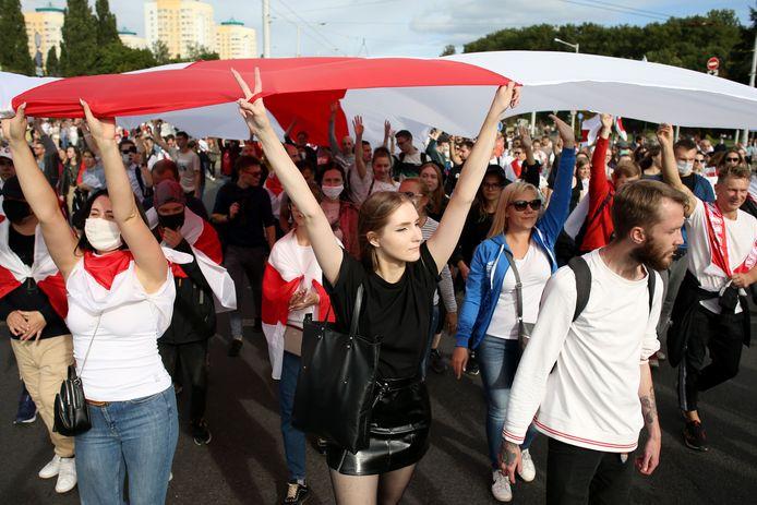 Demonstranten in Minsk.