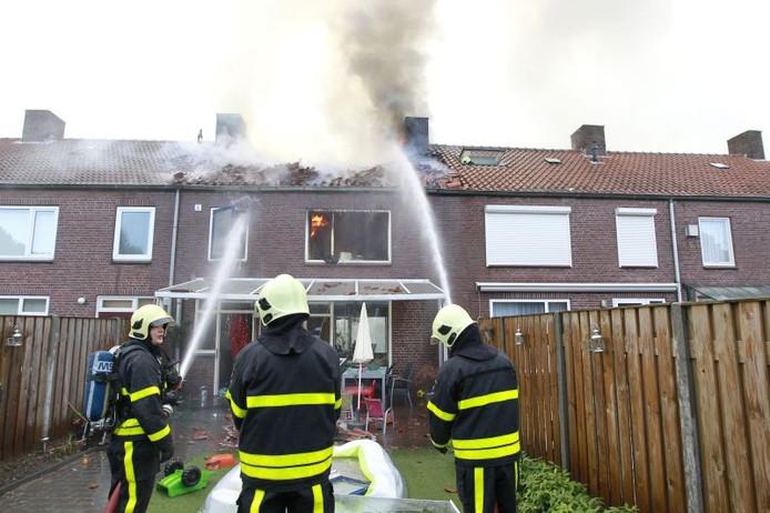 De brand in de woning in Veldhoven. Foto: Bert Jansen