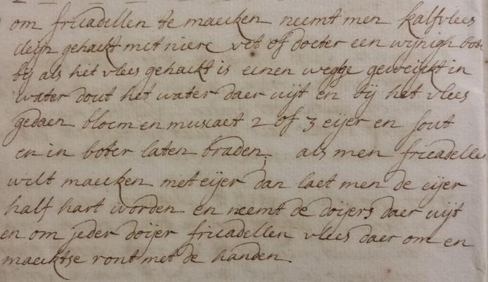 Een recept voor frikadellen uit een kookboekje uit de 18e/19e eeuw van de familie Raupp. Bron: BHIC