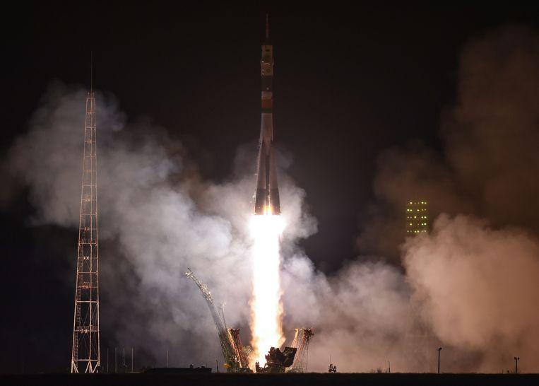 De lancering van de Sojoez-raket eerder vandaag in Kazachstan.