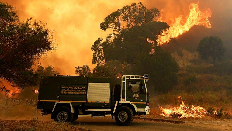 Een recente bosbrand op Sicilië. Beeld afp