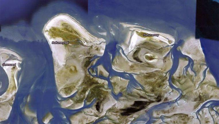 De waddeneilanden Rottumeroog en Rottumerplaat Beeld Google maps
