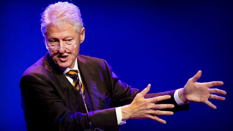 Bill Clinton donderdagochtend tijdens zijn speech. Beeld ANP