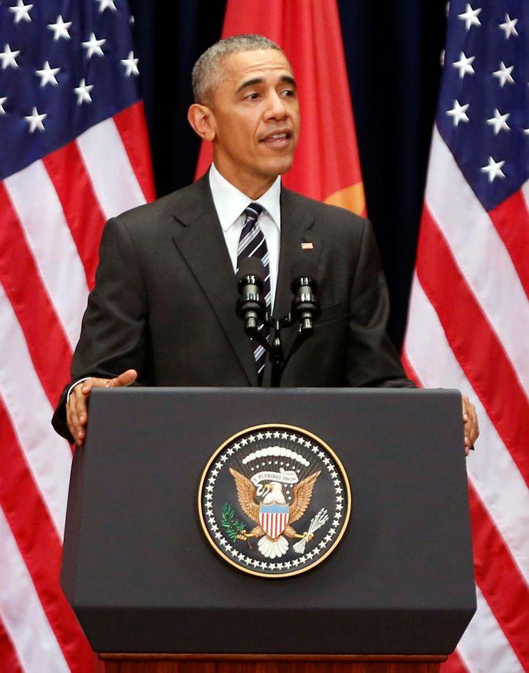 De Amerikaanse president Barack Obama in Hanoi.