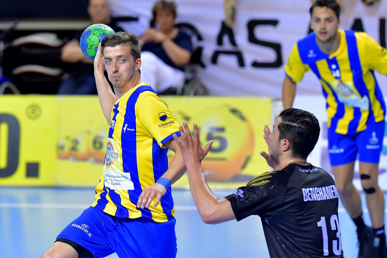Dario Polman in actie tijdens de bekerfinale eerder dit jaar, ook tegen Aalsmeer.
