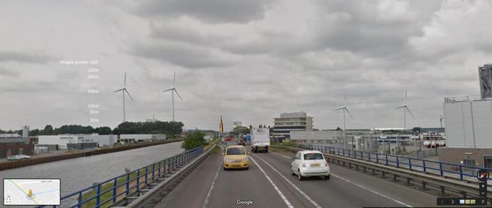 Zo kan het eruit zienals er windmolens komen in Veghel, gezien vanaf de N279. De toren van de Lambertuskerk is ook ingetekend.