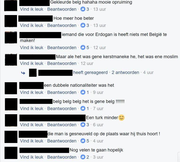 Geanonimiseerde haatdragende en racistische reacties op de dood van Kerim A. op Facebook.