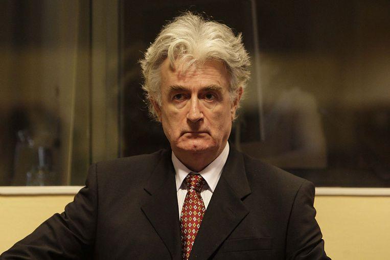 Radovan Karadzic voor het Joegoslavië-tribunaal. (ANP) Beeld